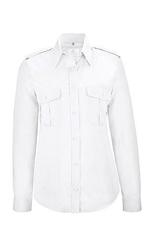GREIFF Damen-Pilot-Bluse mit Kent-Kragen   Langarm   Mit Schulterklappen   Zwei Aufgesetzte Brusttasche   MIt Stiftfach   Farbe: Weiß   Größe: 52