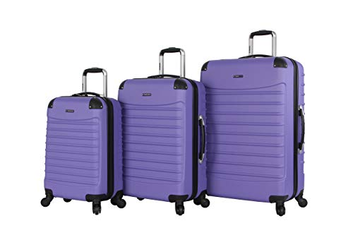 Ciao Voyager Luggage Collection - 3 Piece Hardside Lightweight Spinner Suitcase Set - Travel Set includes 20-Inch Carry On, 24 inch and 28-Inch Checked Suitcases (Voyager Lavender)