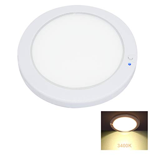 Facon - Iluminación Interior de Techo LED Redonda Brillante de 5 Pulgadas y 12 V con Interruptor de Encendido/Apagado e indicador Azul para RV/Caravana/Remolque/Barco/vehículos (3400 K Blanco cálido)