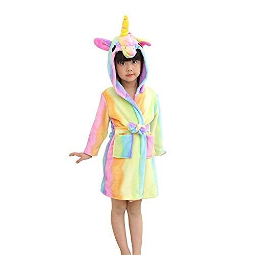 BovoYaAccappatoio per Bambini, Pigiama per Bambini Unicorno Cartoon Accappatoio Asciugamano da Bagno in Flanella con Cappuccio per Bambini + Borsa 100, 110, 120, 130, 140