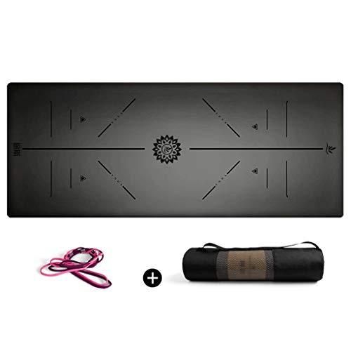 hsj LF- Esterilla de yoga de goma natural de 5 mm para principiantes y principiantes que ensanchan y son antideslizantes para el suelo de la aptitud (color: negro)