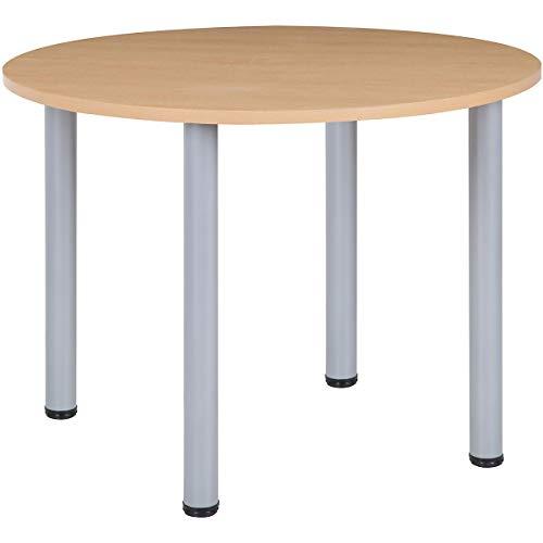 Certeo Schreibtisch mit runden Rohrbeinen, Durchmesser 1200 mm, Höhe 740 mm, Untergestell Silber, Buche Karbon, Mehrzwecktisch, Konferenztisch,...