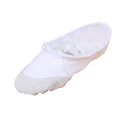 Topgrowth - Zapatillas de ballet para niña, clásicas, de tela, zapatos de ballet, baile para niñas de 3 a 10 años, Color blanco., 28 EU