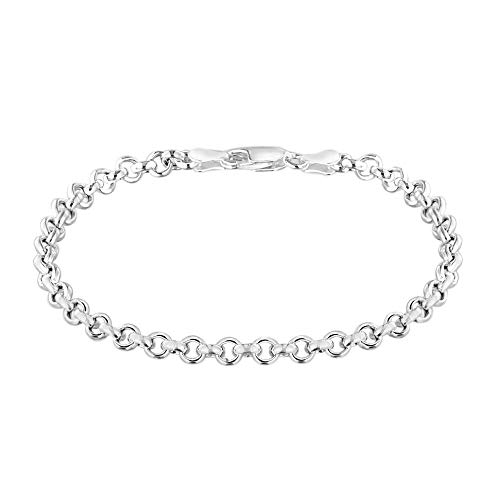 TJC Round Belcher Link Chain Bracelet for Women 925 Sterling Silver Size 7.5'