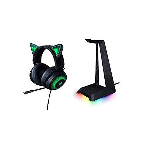 Razer Kraken Kitty USB Gaming Headset mit Chroma Lighting Schwarz + Base Station Chroma Headset Ständer (mit RGB und USB-Port, rutschfeste Unterlage, Chroma RGB Beleuchtung, mit 3 USB Anschlüssen)