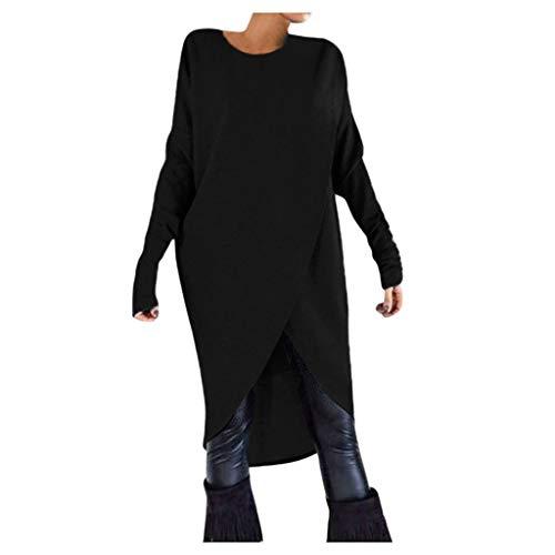 Lazzboy Pulli Damen Pullover Poncho Cape Strick Jacke Mantel Umhang Tops Longstrickjacke Outwear(Schwarz,S)
