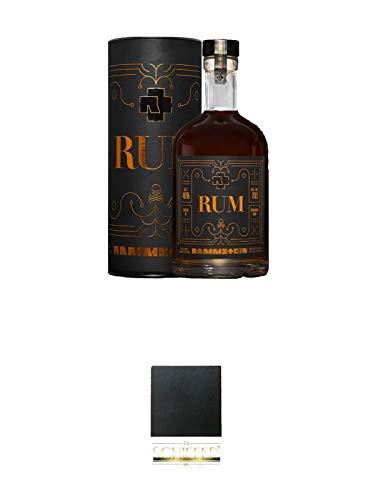 Rammstein Rum 0,7 Liter Offizieller Fan Artikel + Schiefer Glasuntersetzer eckig ca. 9,5 cm Durchmesser