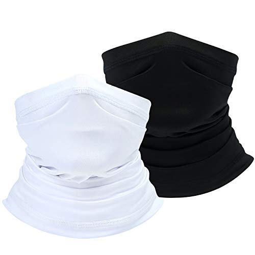 Your Choice Face Neck Gaiter Summer Cooling Neck Cover Bandana Scarf for Hot Weather Sun UV Protection (2-Black&White)