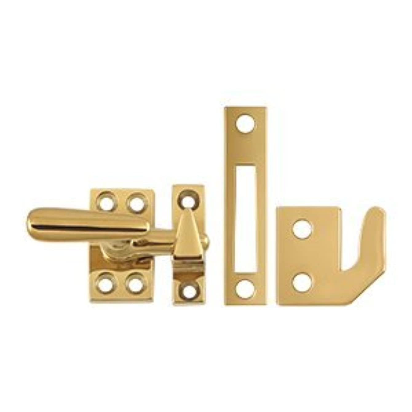 Deltana CF066 Small 4 Piece Solid Brass Window Casement Fastener, Lifetime Polished Brass