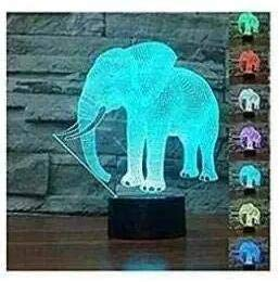 3D Der Elefant Optische Illusions-Lampen, Tolle 7 Farbwechsel Acryl berühren Tabelle Schreibtisch-Nachtlicht mit USB-Kabel für Kinder Schlafzimmer Geburtstagsgeschenke Geschenk