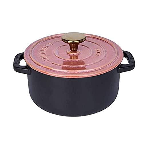 XIXIDIAN Placa de cazuela Superficial esmaltada de cazuelas con Tapa de Utensilios de Cocina de Cocina con Mangos duales adecuados para Cocina de Gas/lavavajillas Plato de cazuela