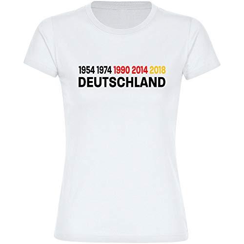 T-Shirt Deutschland mit Jahreszahlen 1954 1974 1990 2014 Trikot Damen weiß Gr. S-2XL - Fanshirt Fanartikel Fanshop Trikot Fußball EM WM Germany,Größe:XXL