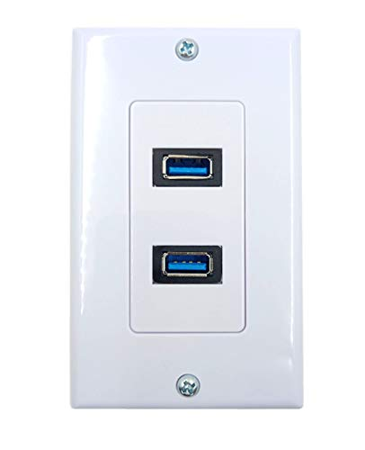4.2A USB 3.0 Receptacle Outlets Wall Plates Panel, Haokiang 2 High Speed USB 3.0 Charging Dual Female Port Wall Plates Included, Size 115 MM x 70 MM