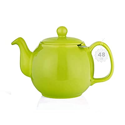 SAKI Large Porcelain Teapot, 48 Ounce Tea Pot with Infuser, Loose Leaf and Blooming Tea Pot - Green