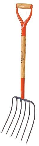 A.M. Leonard Forged 6 Tine Manure Fork, Bedding Fork, 30 Inch D Grip Ash Handle