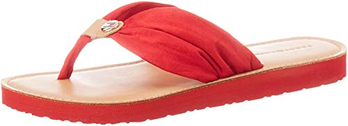 Tommy Hilfiger Damen Leather Footbed Beach Geschlossene Sandalen, Rot (Primary Red XLG), 40 EU