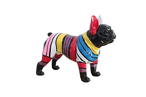 Meubletmoi - Statua cane a strisce multicolore in resina – Arthur
