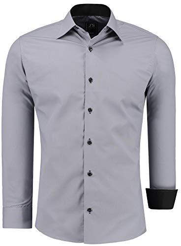 J'S FASHION Herren-Hemd - Vergleichssieger 2019* - Slim-Fit - Langarm-Hemd - Bügelleicht - EU Größen: S bis 6XL - Grau XL