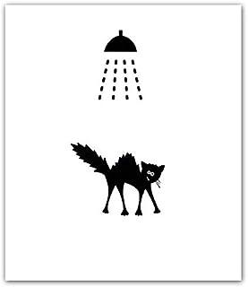 Plaque de porte de douche humoristique chat noir, signalétique salle de bains