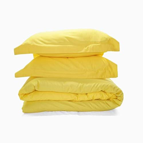 Exclusive Bedding Hotel Collection- 5 Piece Duvet Cover Set - 1000 Thread Counts 100% Egyptian Cotton (UK-Small Double Size, Yellow Solid)