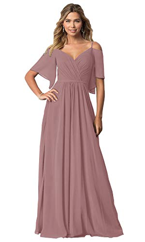 KKarine Women's Off The Shoulder Ruffled Chiffon Bridesmaid Dress Floor Length V Neck Formal Gown (2 Dusty Rose)