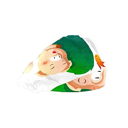 Gorra de mujer para cabello largo con banda elástica ajustable para el sudor Gorras de trabajo para hombres bufanda de cabeza impresa 3D Gorros lindos cerdos dormir peces de colores