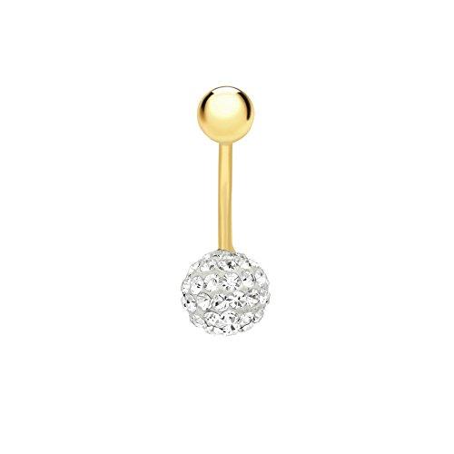 Carissima-Bracciale in oro giallo 9 ct-Piercing per ombelico con cristalli a grappolo