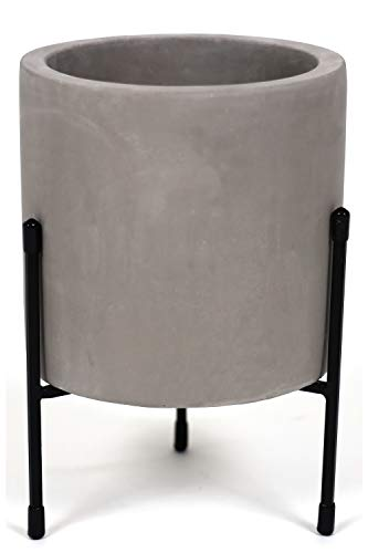 Mid-Century Cement Planter with Stand Large – Plant Stand with Pot for Indoors