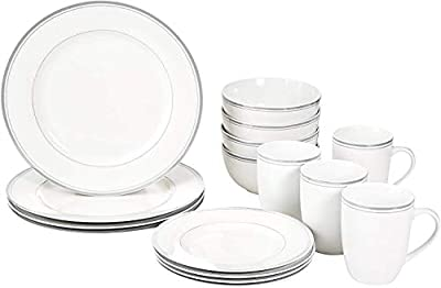 16 pc Cafe Stripe Dinnerware Set by AmazonBasics