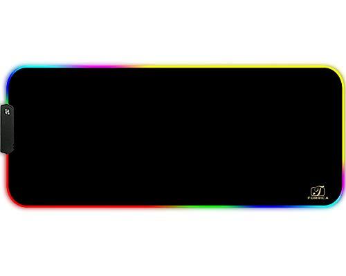 FORRICA RGB Gaming Mauspad XXL 900x400x3 mm Große Mousepads Fransenfreie Ränder Wasserdicht Schreibtischunterlage Tischunterlage Matte Office Rutschfest Gaming Mausmatten Schwarz
