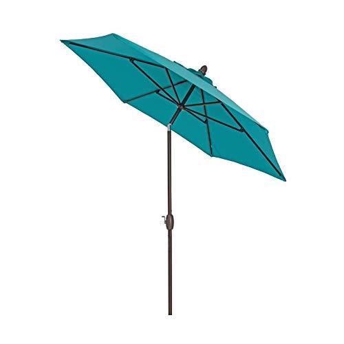Sombrilla Terraza Parasol Jardin Exterior 2,7 M / 9 Pies Sombrilla de Patio con Inclinación y Manivela, Garden Market Sombrilla de Mesa, 8 Costillas y Poste de Aluminio, Gran Sunbrella