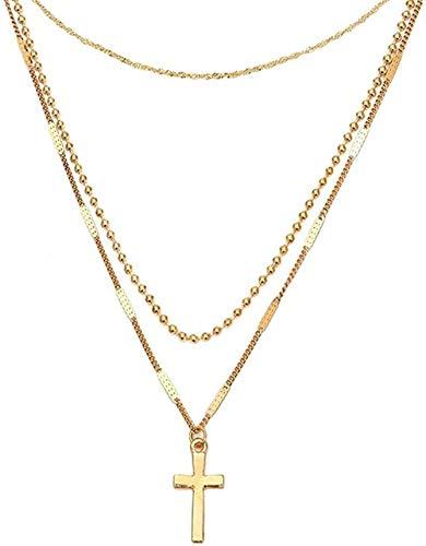 LKLFC Collar Mujer Collar Hombre Colgante Collar Bohemio Collares de Perlas para Mujer Gargantilla Vintage Cruz Collar Multicapa Declaración Joyería de Fiesta Nuevo Collar Niñas Niños Regalo