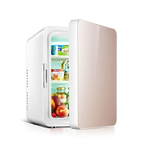LLDKA 2 en 1 Mini Nevera, 10 litros con función de refrigeración y calefacción, Electricidad portátil, Camping, Oficina, Socket 220V y Puerto USB de 12V,Rosado