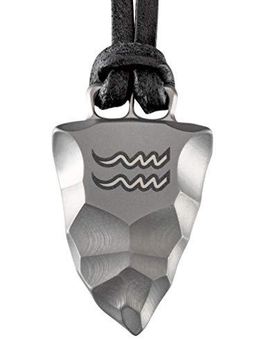 Element of Gods Titan Faustkeil Sternzeichen Wassermann Amulett aus Reintitan Herrenschmuck Anhänger Lederband (60)