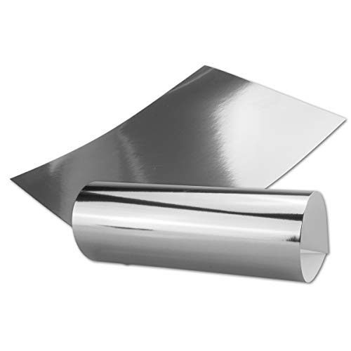 Silber Metall Spiegel Papier - 20er-Set - spiegelnd Silber - Rückseite Weiß und Bedruckbar - DIN A4 21,0 x 29,5 cm -in hochwertiger Geschenkschachtel/Aufbewahrungsbox