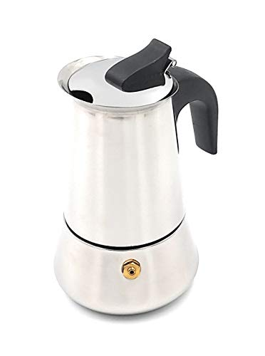 Generico Trunpi - Juego de 2 piezas: cafetera moka + reductor hornillo cafetera expreso de acero inoxidable (cafetera de 2 tazas reductor)