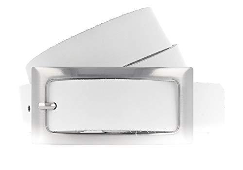 Vanzetti Damen Leder Gürtel Rindleder Damengürtel 30 mm Ledergürtel (100, Weiß)