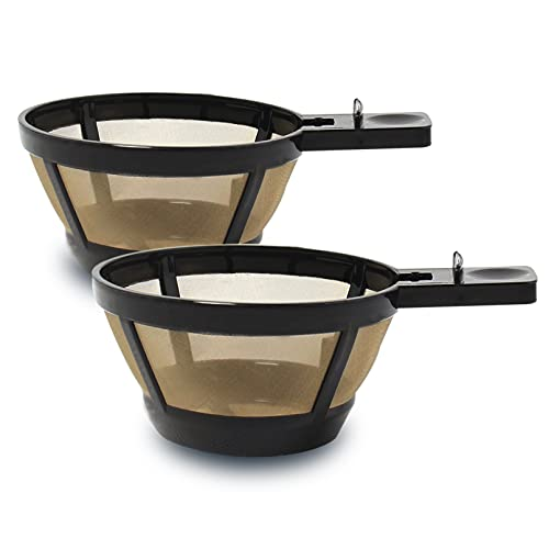Cestlaive Gold Reusable Single Serve Brew Replacement Coffee Basket Filter Cup, Compatible with Hamilton Beach 2-Way Brewer Coffee Maker Models 49980A, 49980Z, 47650, 49933 Accessories, 2-Pack