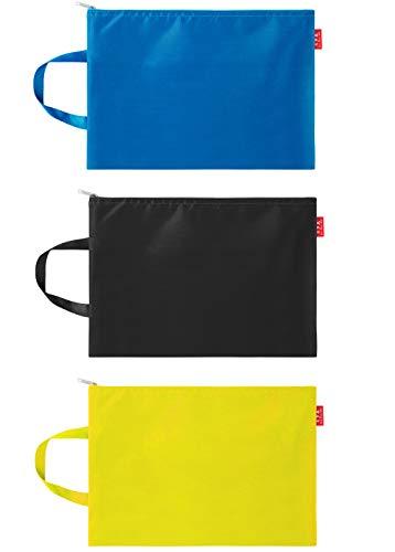 ジッパー式ファイル袋 A4判撥水 ファイルバッグ 持ち運び 防水 ファイル収納 ジッパー袋 収納 旅行収納 軽量 不透明(黒、黄色、青三点セット) (黒、黄色、青三点セット)