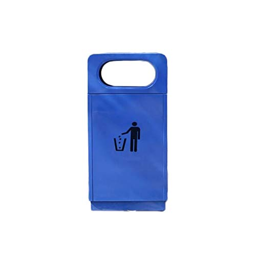 LOMJK Papeleras Bote de Basura de Acero Inoxidable con Tapa 30L (7.9GALLON) Papelera de Basura Exterior Cuadrada para Patio Hotel Mall Cubos de Basura (Color : Blue)