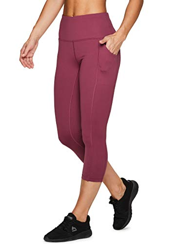 RBX Active Women's Power Hold High Waist Capri Leggings with Pockets Maroon XS