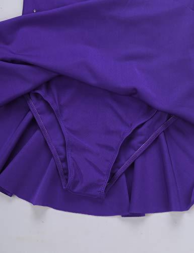Mufeng Vestido de Leotardo de Color Sólido sin Mangas para Niñas Maillot Patinaje Artístico Baile Disfraz Bailarina con Volantes Gimnasia Violeta A 13-14 años