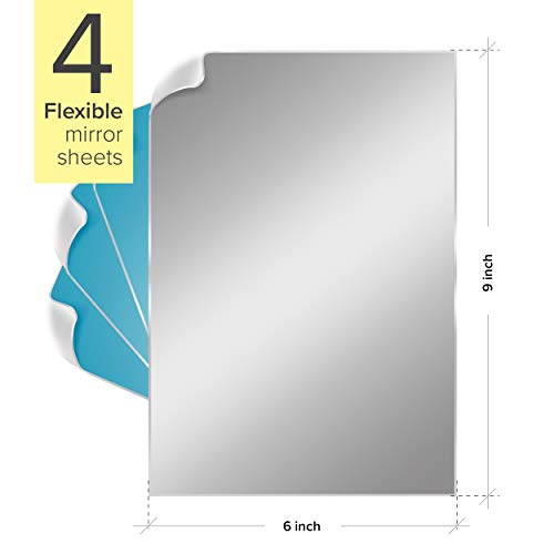 Stick On Mirror Sheet 9 x 6 inches, 4 Pieces – Self-Adhesive Mirror Tiles – Premium Quality and Durable Material – Anti-Scratch Protective Film – Cuttable Peel and Stick Mirror Sheets - Gym, Home Use