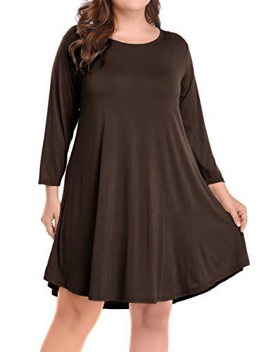 BELAROI Women's Casual Flare Plain Simple 3/4 Sleeve T-Shirt Loose Dress (2X, Coffee)
