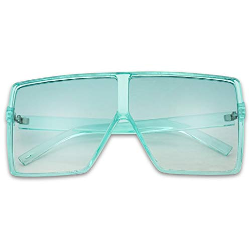 SunglassUP Oversized Festival Candy Colored Tone Square Crystal Frame Sunglasses (Teal Blue Frame | Blue)