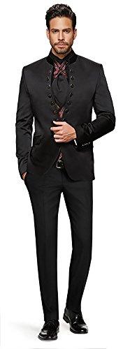 Herren Anzug - 8 teilig - Schwarz/Bordeaux Rot Designer Hochzeitsanzug NEU PC_15 (44)
