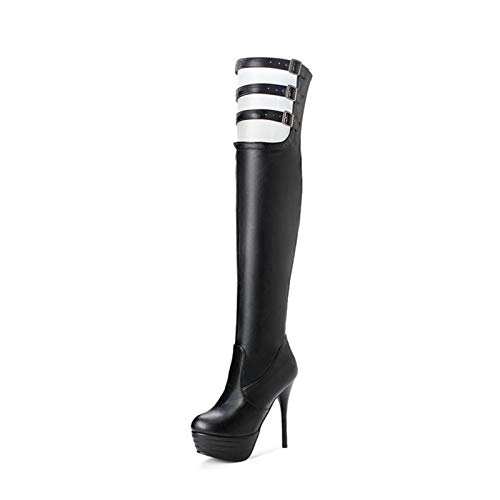 GAO-bo Overknee-Stiefel Damen Stiefel Runde Zehen Stiletto Plus Samt Lange Röhre Damen Stiefel Sexy Knight Boots Martin Stiefel 13,5 cm (Farbe: Schwarz, Größe: 36)