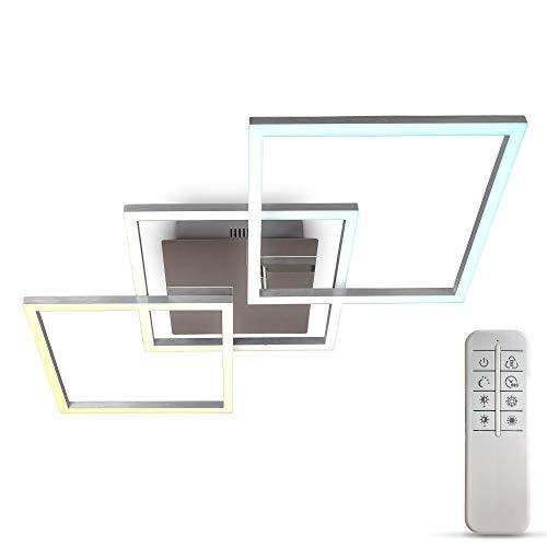 B.K.Licht Plafoniera LED dimmerabile, CCT luce calda, neutra, fredda, telecomando, LED integrati 32W, 2600Lm, quadrato orientabile, lampadario con timer e funzione luce notturna per camera