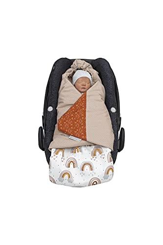 ULLENBOOM ® Einschlagdecke Babyschale Regenbogen (Made in EU) - Babydecke für Autositz (z.B. Maxi Cosi ®), Babywanne oder Kinderwagen, ideale Decke für Babys (0 bis 9 Monate)