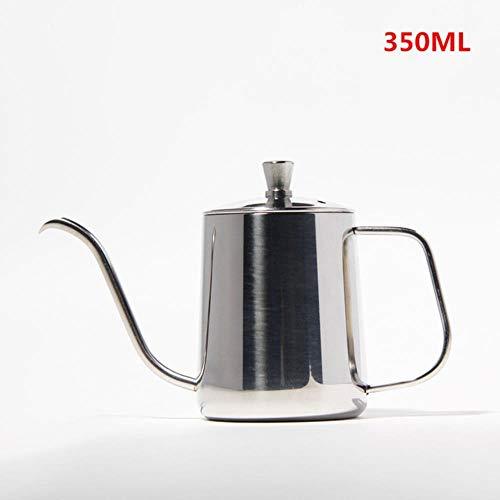 Druppelketel 350ml 600ml giet over Koffie Theepotten Teflon Non-stick Food Grade Roestvrij Staal Zwanenhals Druppelketels Zwanenhals Dunne Mond, Zilver 350ml